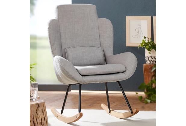 Wohnling Schaukelstuhl Rocky Grau Design Relaxsessel 75 X 110 X 885