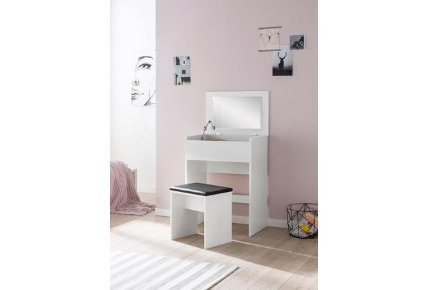 Wohnling Schminktisch WL5.730 60x81x40 Cm Weiß Konsolentisch Holz Modern,  Kosmetiktisch Mit Hocker Und