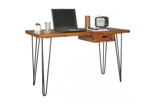 wohnling schreibtisch bagli braun 130 x 60 x 76 cm massiv holz laptoptisch sheesham natur. Black Bedroom Furniture Sets. Home Design Ideas