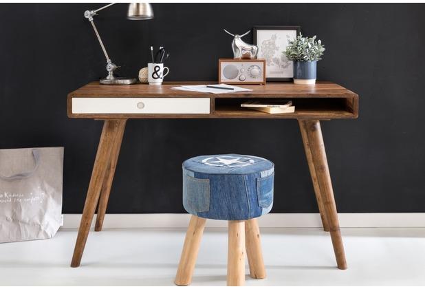 Wohnling Schreibtisch REPA weiß 120 x 60 x 75 cm Massiv Holz Laptoptisch  Sheesham Natur | Landhaus-Stil Arbeitstisch mit 1 Schublade | Bürotisch ...
