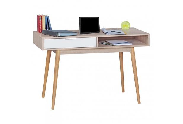 wohnling schreibtisch samo design computertisch mit schublade sonoma wei tisch modern mit. Black Bedroom Furniture Sets. Home Design Ideas