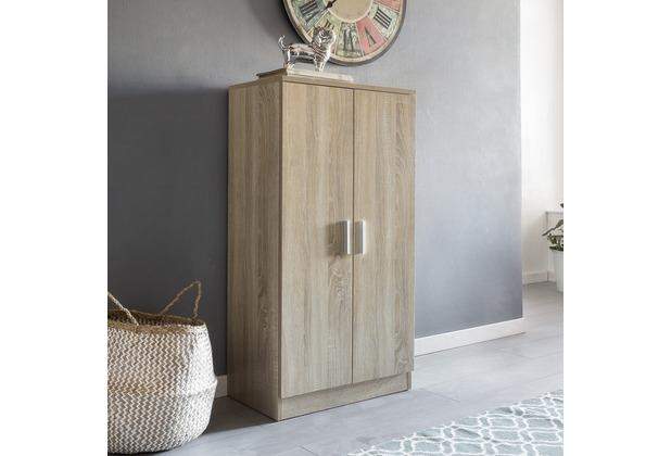 wohnling schuhschrank martin mit 2 t ren sonoma 55x108x35 cm schuhregal holz geschlossen design. Black Bedroom Furniture Sets. Home Design Ideas