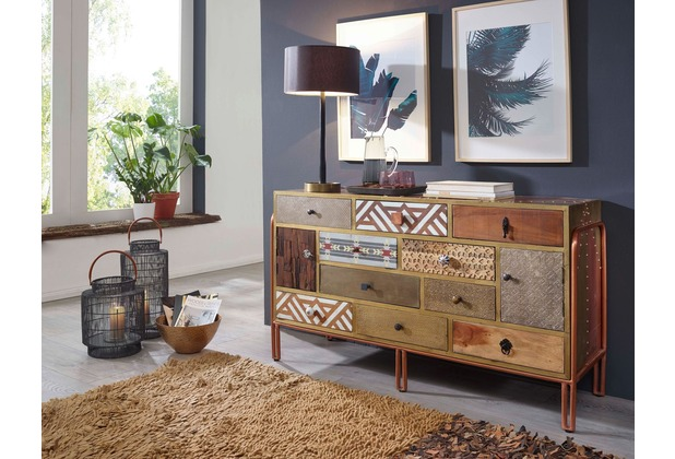 Wohnling Sideboard Fitted 137x81x45 Cm Metall Anrichte Industrial
