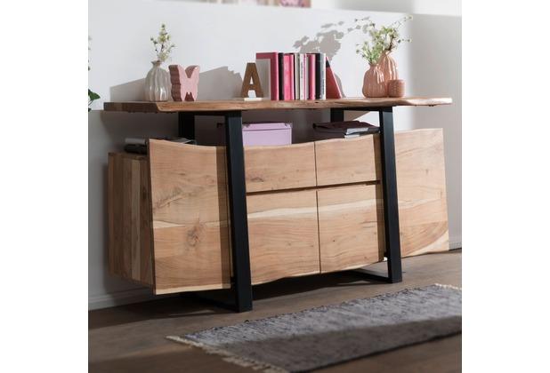 Wohnling Sideboard Gaya Akazie Kommode Massiv Holz 175x90x44cm