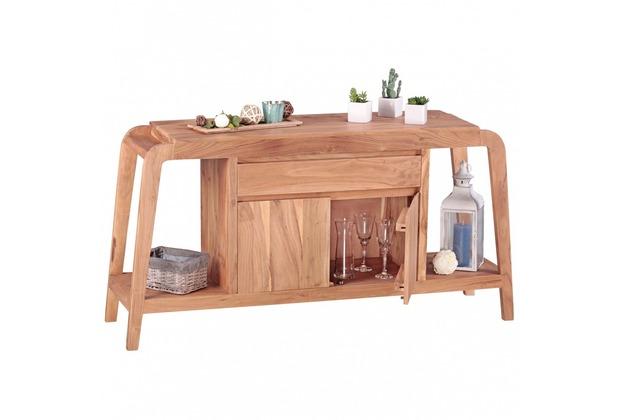 Wohnling Sideboard Massivholz Akazie Kommode 150 Cm 1 Schublade Und