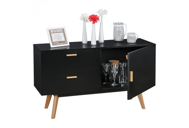 wohnling sideboard scanio mdf holz schwarz mit 2 schubladen kommode 120 x 70 cm dielenm bel. Black Bedroom Furniture Sets. Home Design Ideas