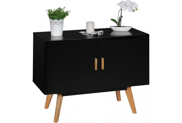 wohnling sideboard scanio mdf holz schwarz mit 2 t ren kommode 90 x 40 cm dielenm bel design. Black Bedroom Furniture Sets. Home Design Ideas