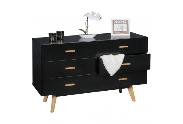 wohnling sideboard scanio mdf holz schwarz mit 6 schubladen kommode 120 x 75 cm dielenm bel. Black Bedroom Furniture Sets. Home Design Ideas