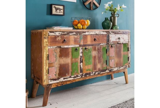 wohnling sideboard vata massivholz 150x91x40 cm kommode shabby chic design dielenschrank mit schubladen turen