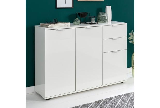 Wohnling Sideboard Weiß Wl5853 107x785x35 Cm Kommode Mit Türen Und Schubladen Design Hochglanz Highboard Klein Kleiner Glanz Wohnzimmerschrank