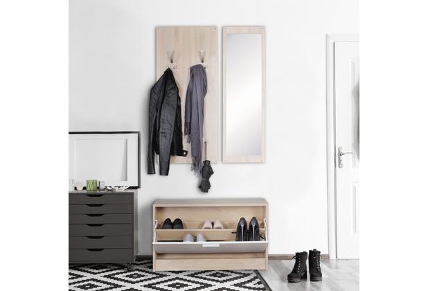 wohnling wand garderobe jana mit spiegel schuhschrank spanplatte sonoma moderne flur. Black Bedroom Furniture Sets. Home Design Ideas