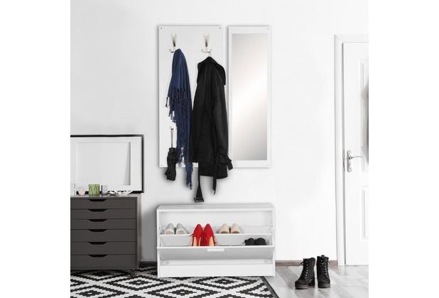 Wohnling Wand Garderobe Jana Mit Spiegel Schuhschrank Spanplatte Weiss Moderne Flur Kompaktgarderobe Fur Jacken Schuhe Komplettgarderobe