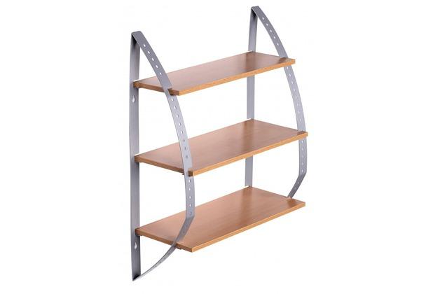 wohnling wandregal buche 40 x 15 x 50 cm mit 3 b den h ngeregal. Black Bedroom Furniture Sets. Home Design Ideas