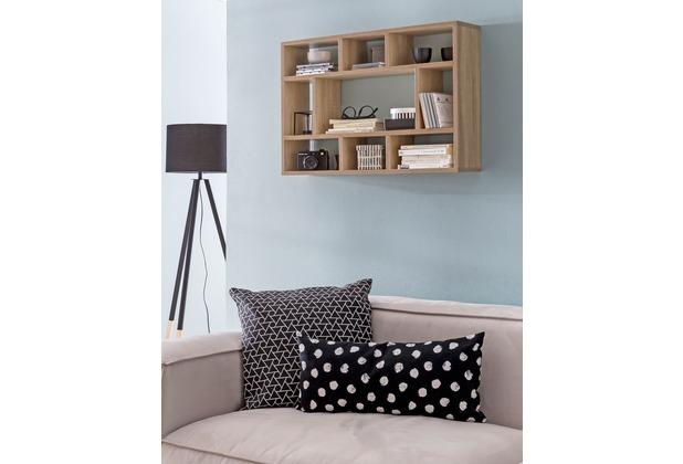 wohnling wandregal sonoma eiche 75x51x16 cm holz. Black Bedroom Furniture Sets. Home Design Ideas