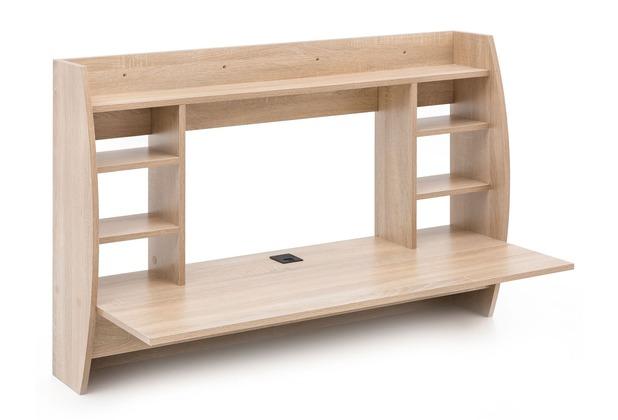 Wohnling Wandtisch 110x75x485 Cm Sonoma Wl5840 Holz Schreibtisch Für Die Wand Arbeitstisch Mit Kabelloch Wandschreibtisch Mit Regal Pc