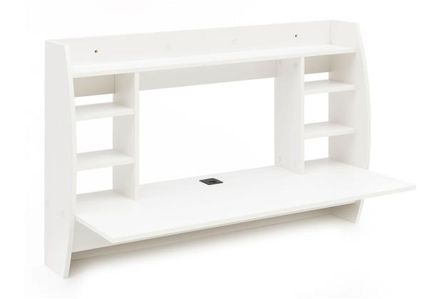 Wohnling Wandtisch 110x75x48,5 cm Weiß WL5.841 Holz Schreibtisch für die  Wand, Arbeitstisch mit Kabelloch, Wandschreibtisch mit Regal, PC  Ablagetisch ...
