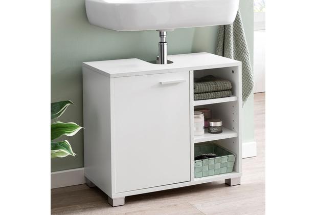 Wohnling Waschbeckenunterschrank WL5.341 60x55x32cm Weiss Badschrank mit  Tür, Holz Unterschrank Waschbecken Badezimmer, Waschtischunterschrank mit  ...