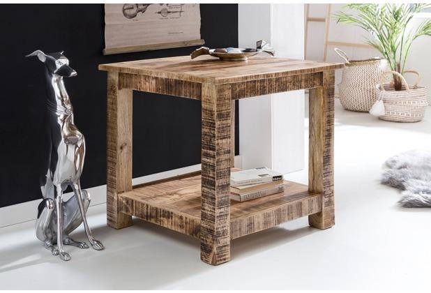 Wohnling Wohnzimmertisch RUSTICA Massiv Holz 60 X Cm Beistelltisch 2 Ablageflchen